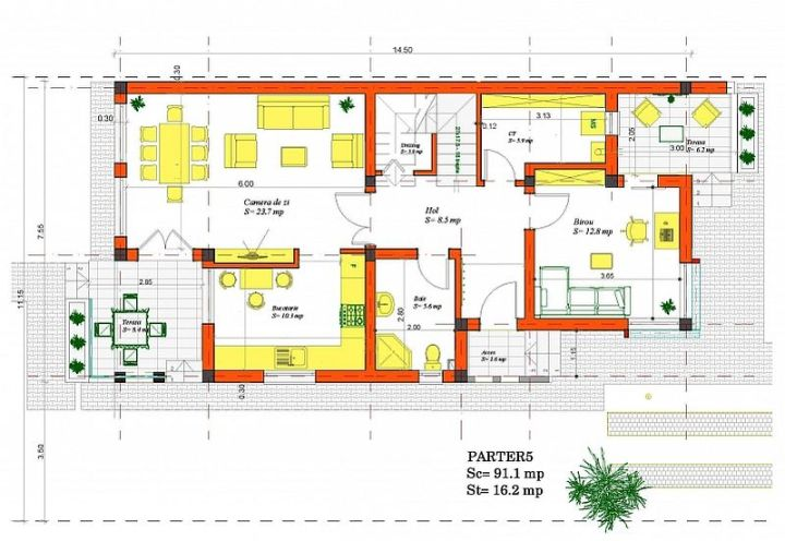 case mici cu etaj si mansarda Three story house plans 12
