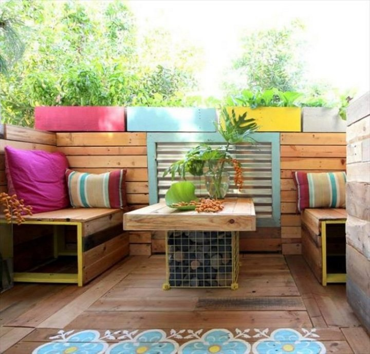 terasa din paleti Wood pallet deck ideas 11