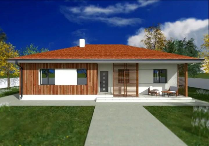 Proiecte de case cu parter si finisaje exterioare din lemn - contraste superbe pe doua laturi