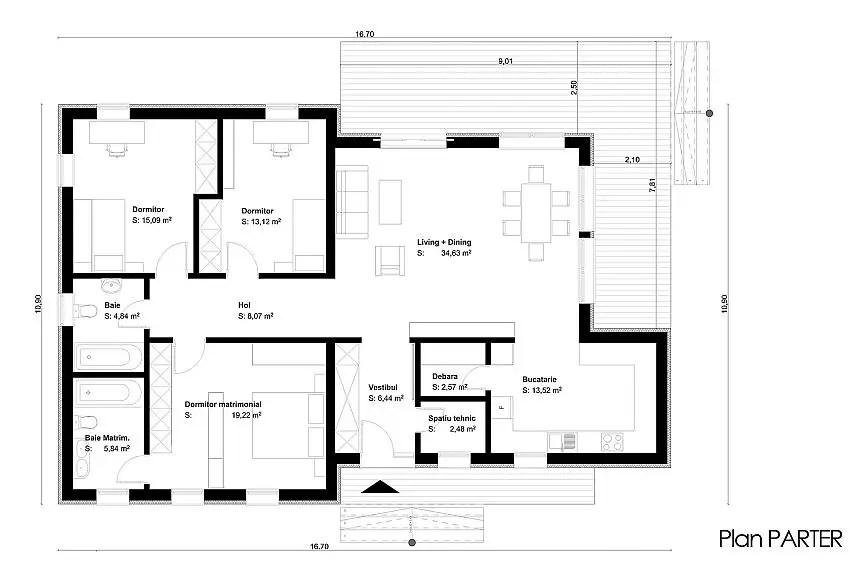 Proiecte de case cu parter si finisaje exterioare din lemn Single floor houses with exterior wood finishes 8