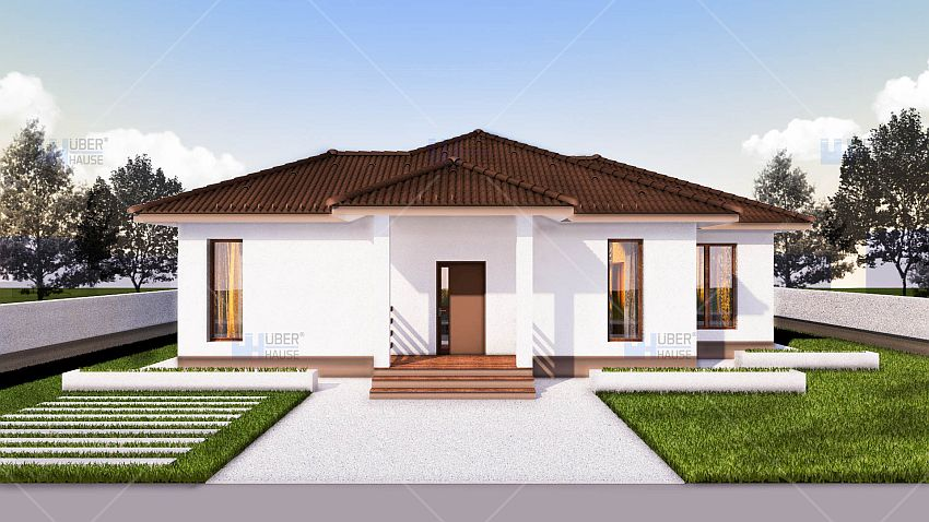 Case cu doua dormitoare pe un singur nivel case practice for Single story 4 bedroom modern house plans