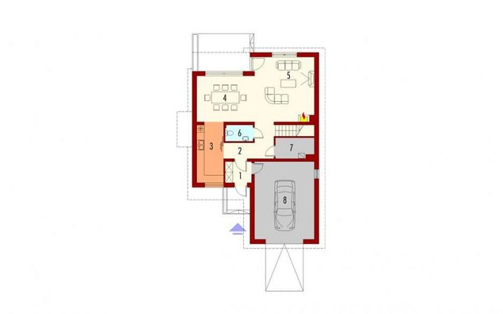 case cu etaj si garaj integrat Two story flat roof houses with garage 3