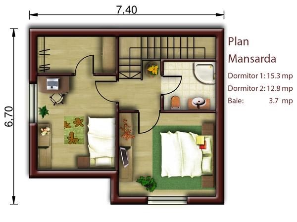 case cu amprenta la sol de 50 mp 1 plan mansarda