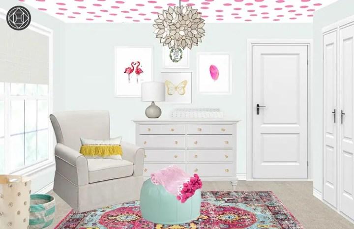 pictarea tavanului in camera bebelusului buline