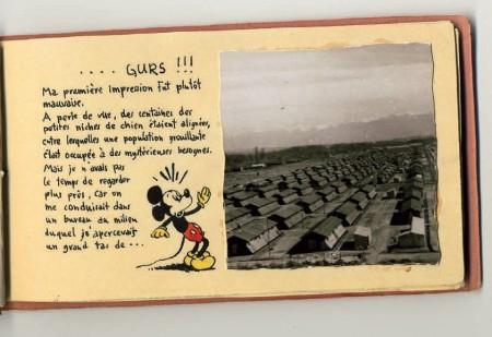 Face aux enfilades sordides des baraquements du camp de Gurs.