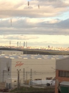 Blurry view of the towers in Madrid's skyline on our train back from Cercedilla