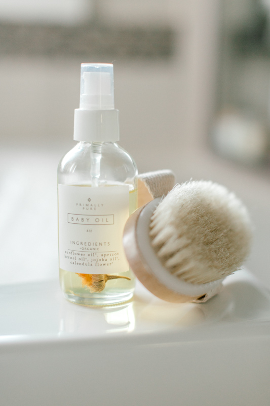 Primally Pure All-Natural Non-Toxic Skincare | Baby Oil and dry brush | Casey Horst Company