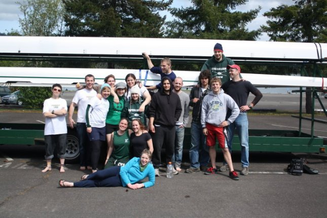 With Evergreen rowing teammates, pre-race.