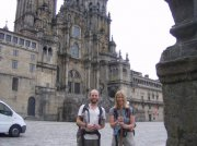 At the end of the Way of Saint James, in Santiago, Spain. We walked the width of Spain, over 800km.