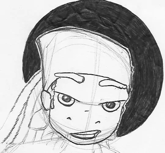 A sketch of Nick Simian from Fish 'n' Chimps with a bandana on his head, superimposed on a black circle.