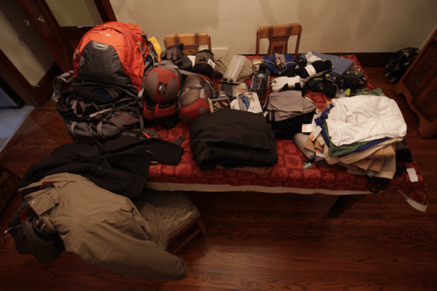 All the gear that Casey and Sarah are taking on their Kilimanjaro trek