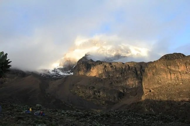 A view of the summit surrounded by clouds and Barranco Wall
