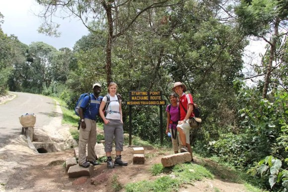 Myself, Sarah and some of our best friends at the entry of Mount Kilimanjaro's Machame Route.