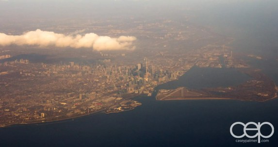 A shot of Toronto from the air.