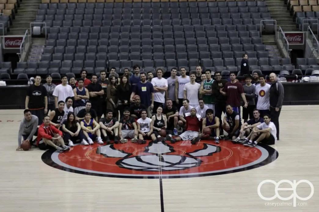 A shot of the Social Media Week Pick-up Basketball Game Team Shot at the Air Canada Centre