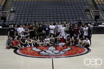 A shot of the Social Media Week Pick-up Basketball Game Team Shot at the Air Canada Centre
