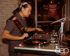 Organizer and DJ Andrew Lo playing the music for the party
