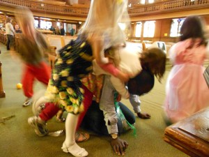 Some of the younger ladies at church basically trying to find out how strong my back is.