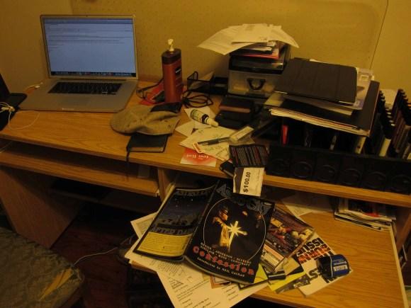 The messy desk of Casey Palmer.