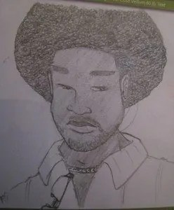 A sketch of a Black man with an afro who I'd seen on the subway