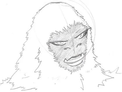 An initial sketch of a white gorilla character that I have for a story idea.