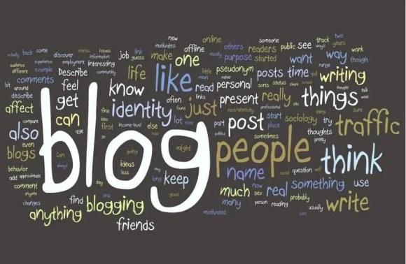 Word cloud on blogging.