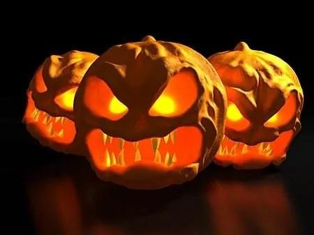 Scary jack-o-lanterns.