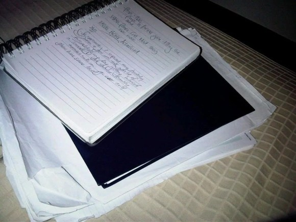 A pile of paper containing the many ideas I'm working on.