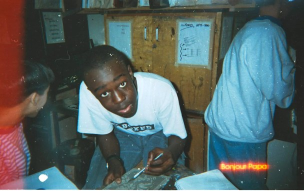 Casey Palmer in art class, 1997.