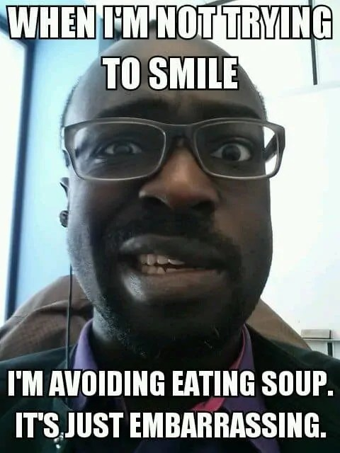 A meme I made of my face affected by Bell's palsy