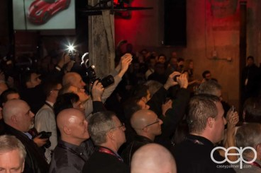 The crowd snapping photos of the 2014 Corvette Stingray