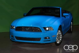 A Ford Mustang on display at the Ford Blue Party