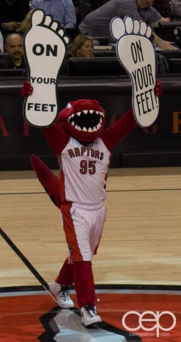 The Raptor would not STAND for the crowd SITTING DOWN while we tried to get this game won!
