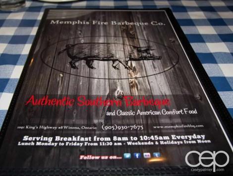 The menu at the Memphis Fire Barbecue Company in Winona, ON
