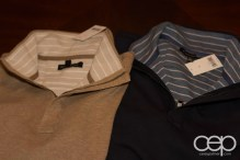 Beige and navy sweaters from The Banana Republic.