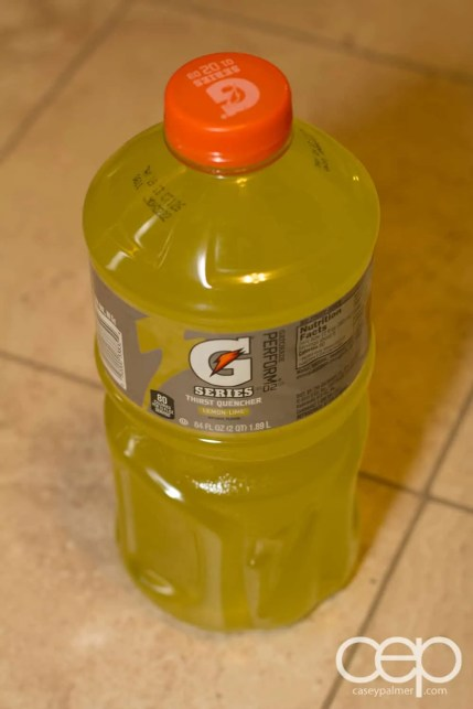 A litre of Lemon-Lime Gatorade bought at TOPS in Brooklyn, NY.