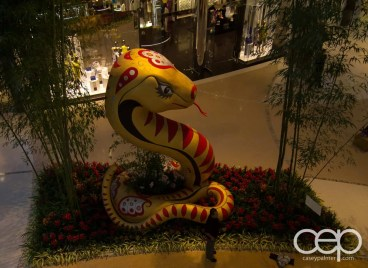 A large golden snake in the Crystals in Las Vegas celebrating Chinese New Year
