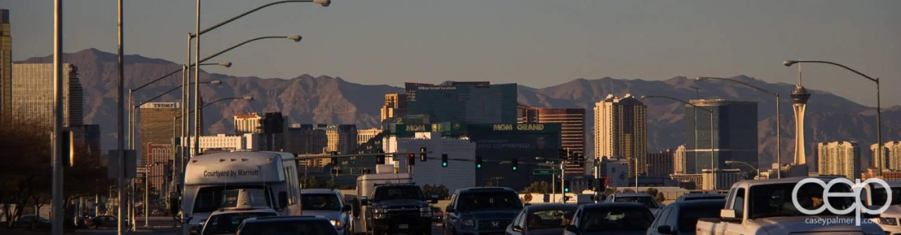 The sunset skyline of Las Vegas.