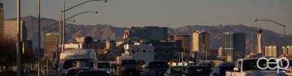 The sunset skyline of Las Vegas.