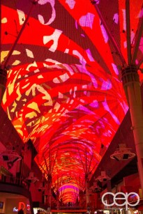 An example of the light show that's part of The Fremont Street Experience on the 90' x 1500' canopy that extends over the street.