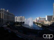 A wide-angle shot of the dancing fountains at The Bellagio in Las Vegas, NV.