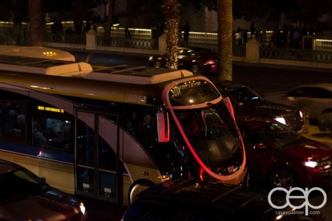 A shot of one of the many SDX buses that run through the Las Vegas strip.