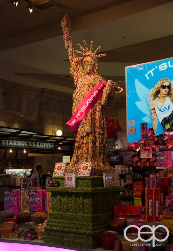 A Statue of Liberty made out of jelly beans at the New York New York Hotel & Casino in Las Vegas
