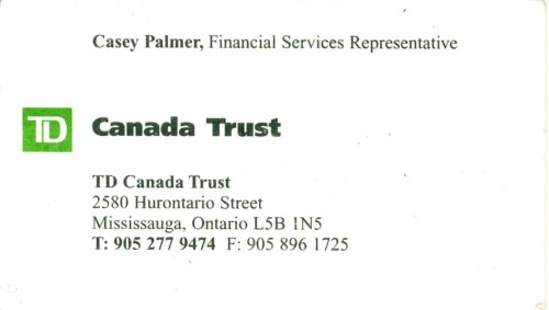 My TD Canadas Trust business card, back when.