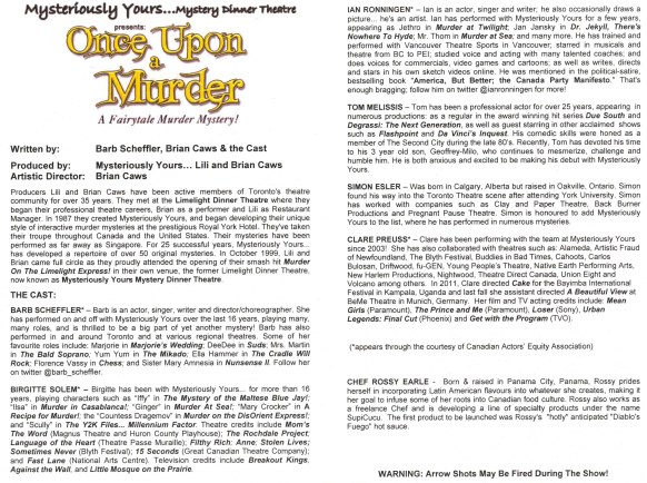 Cast details of Once Upon a Murder at Mysteriously Yours... Mystery Dinner Theatre