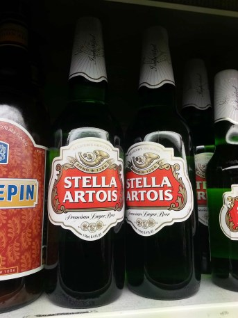 A couple of pint bottles of Stella Artois at the TOPS in Buffalo, NY.