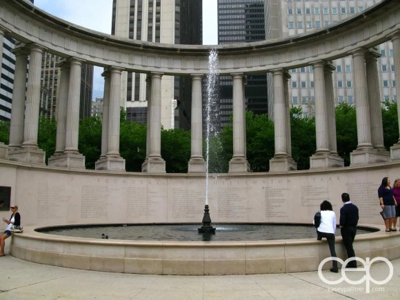 The Wrigley Square fountain in Chicago, IL