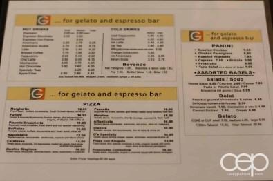 G... for Gelato and Espresso Bar — The Menu