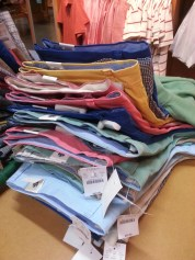 A rainbow of coloured men's pants at J. Crew in the Las Vegas Premium Outlet North