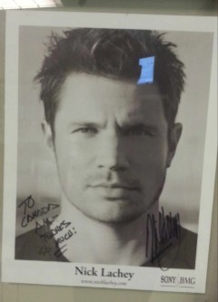 Nick Lachey's signed photo in the CTV Green Room
